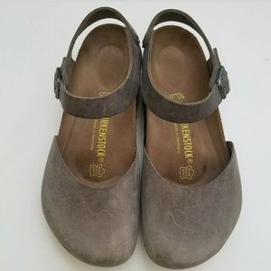 Birkenstock Messina Gray Leather Clogs 40